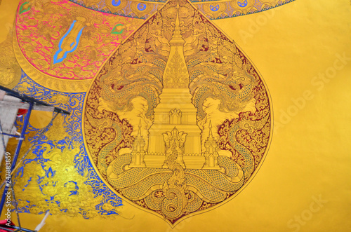 Thai temples are being constructed in addition to the large pagoda decorated with beautiful stucco designs and beautiful Thai paintings.