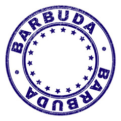 BARBUDA stamp seal imprint with grunge texture. Designed with circles and stars. Blue vector rubber print of BARBUDA title with grunge texture.