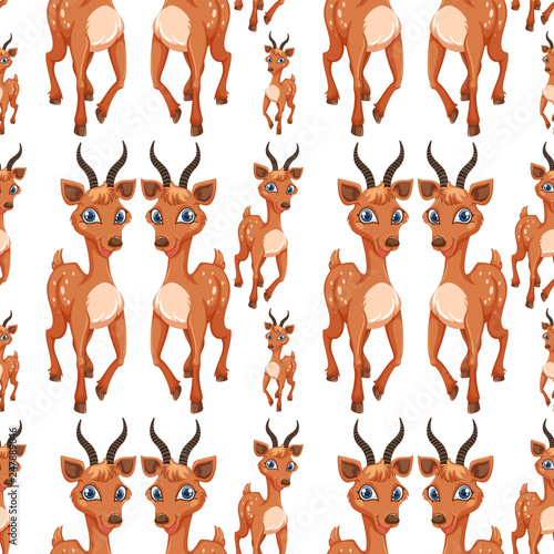 fototapeta na ścianę A deer on seamless pattern