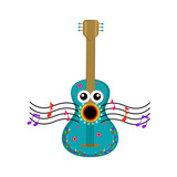 Isolated guitar singing image. Vector illustration design