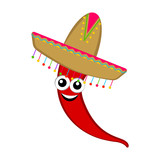 Isolated happy cute red pepper with a traditional mexican hat. Vector illustration design - 247890815