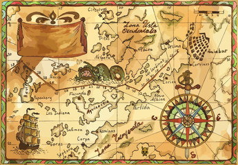 Vector old pirate map with winds rose, sailboat, sea monster and banner. Pirate adventures, treasure hunt and old transportation concept. Vector illustration, vintage background