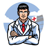 doctor crossing arm in front of hospital badge - 247894656