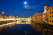 Quadro ponte Vecchio on river Arno at night, Florence, Italy