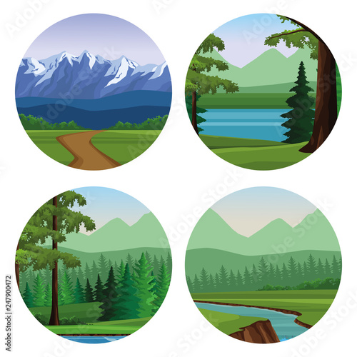Wanderlust landscapes cartoon