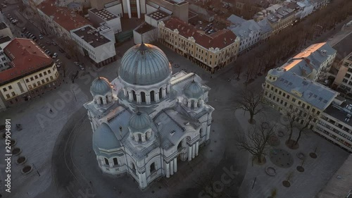 Drone aerial view of Kaunas, Lithuania. Sunset time.