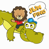 Baby Lion and Crocodile Jump Together illustration - Vector - 247905218