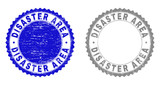 Grunge DISASTER AREA stamp seals isolated on a white background. Rosette seals with distress texture in blue and grey colors. Vector rubber stamp imprint of DISASTER AREA caption inside round rosette. - 247906413