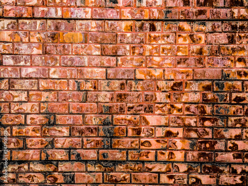 brick wall of red color, wide panorama of masonry. - 247908619