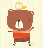 cute bear with cap riding a skateboard on striped background. hand drawn style illustration can be used for nursery decoration, greeting cards, fashion print design - 247918820