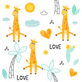 Cartoon giraffes in love seamless pattern background,  tropical plants, vector illustration