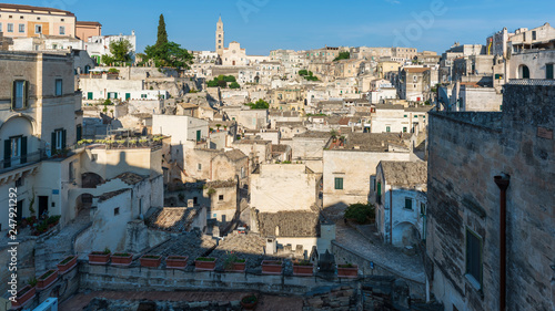Sassi of Matera.Sasso Caveoso at sunset. Magic of cave houses. UNESCO World Heritage Site. - 247921292