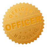 OFFICER gold stamp award. Vector gold award with OFFICER text. Text labels are placed between parallel lines and on circle. Golden surface has metallic structure.