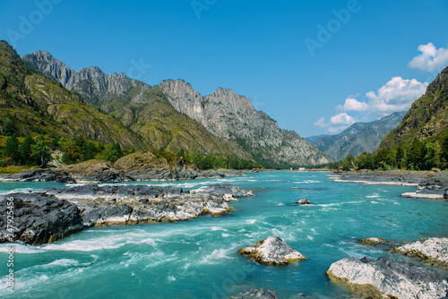 Leinwandbild Motiv The Altay landscape with bright turquoise mountain river Katun and green rocks, Siberia, Altai Republic
