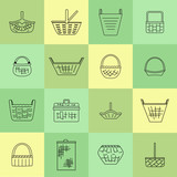Collection of various baskets. Wicker empty baskets. Linear style - 247926453