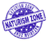 NATURISM ZONE stamp seal imprint with grunge style. Designed with rounded rectangles and circles. Blue vector rubber print of NATURISM ZONE text with grunge texture. - 247927852