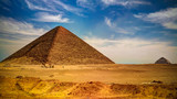Panoramic view to Bent Pyramid of Sneferu Pharao and Red satellite Pyramid at Dahhsur, Cairo, Egypt