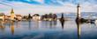 Leinwandbild Motiv Panorama Hafen Lindau Bodensee Winter