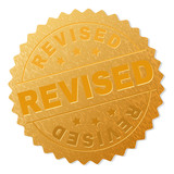 REVISED gold stamp award. Vector golden award with REVISED label. Text labels are placed between parallel lines and on circle. Golden area has metallic structure.