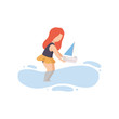 Cute  Girl in Swimsuit Playing with Toy Boat on Beach on Summer Holidays Vector Illustration