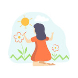 Cute Girl in Red Dress Painting Flowers on Wall, Kids Creativity, Education, Development Vector Illustration - 247947619