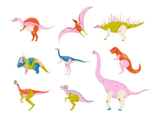 Collection of Colorful Dinosaurs, Pterodactyl, Carnotaurus, Styracosaurus, Diplodocus, Compsognathus, Brachiosaurus, Brontosaurus, Tyrannosaurus, Velociraptor Cute Prehistoric Animals Vector