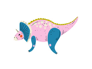 Triceratops Colorful Dinosaur, Cute Prehistoric Animal Vector Illustration