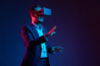 Businessman conducting meeting in vr glasses