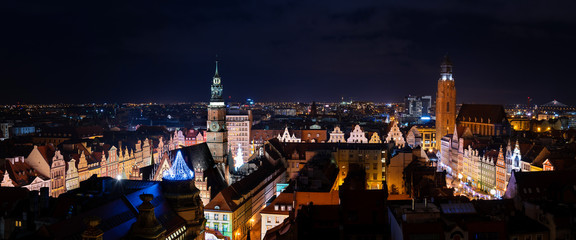 Landmark night view of Wroclaw in Poland