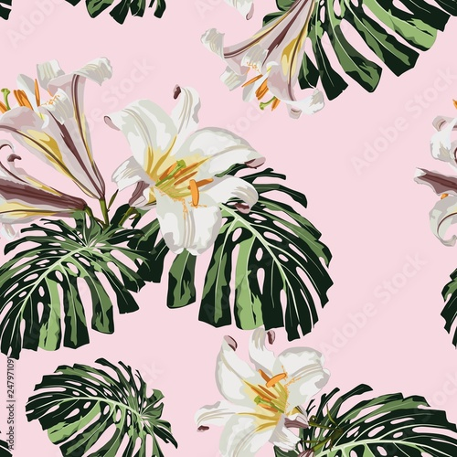 Tropical seamless pattern with white royal lilies flowers and monstera leaves.  Background with Hawaiian flowers and plants on pink backdrop.  © Iuliia