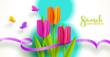 8 March International women's day illustration. Greeting card with paper tulips flowers and butterflies. Vector design. - 247978472