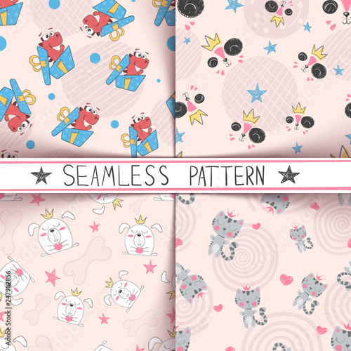 Dino, cat, dog, puppy - seamless pattern © HandDraw