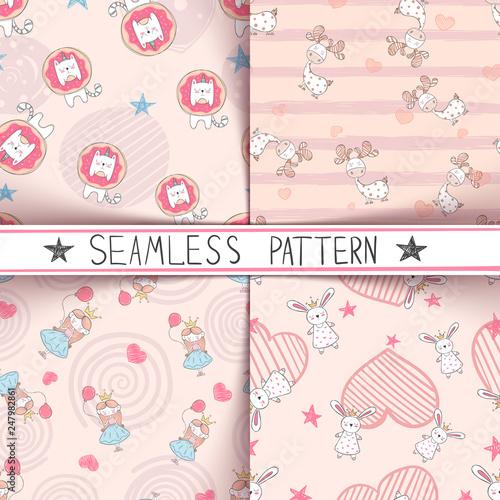Unicorn, deer, girl, rabbit - seamless pattern © HandDraw