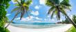 Leinwanddruck Bild - Tropischer Palmenstrand in der Südsee mit Blick aufs Meer