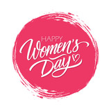 Women's Day celebrate card with handwritten lettering text design Happy Women's Day on red circle brush stroke background. Vector illustration.
