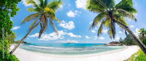 Leinwandbild Motiv Tropischer Palmenstrand in der Südsee mit Blick aufs Meer