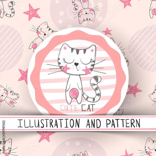 Cute cat - cartoon seamless pattern © HandDraw