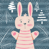 Rabbit characters. Cute winter illustration.