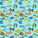 Seamless pattern with watercolor oceanic tropical exotic fishes, hand painted on a blue background