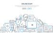 Online exam - modern line design style web banner - 247993415