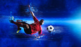 Soccer player art. Creative image template flyers, banners