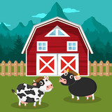 Cows in the farm scene. Concept for nature, country and healthy life and food. Organic food. Flat vector illustration
