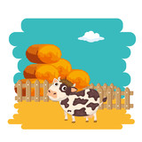 Cows in the farm scene. Concept for nature, country and healthy life and food. Organic food. Flat vector illustration - 247995640