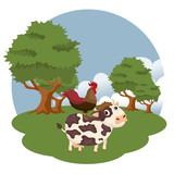 Animals in the farm scene. Nature and country concept. Flat vector illustration