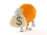 Orange character holding money bag