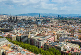Aerial Panorama view of Barcelona city