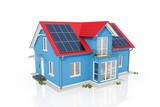 3d Illustration - Einfamilienhaus - blau - Solar - Solar Panel - 248008219