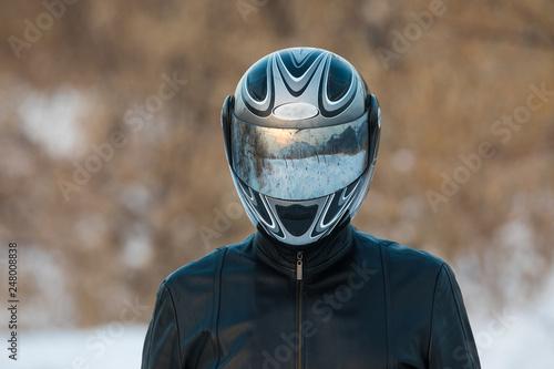 reflection in motorcycle helmet