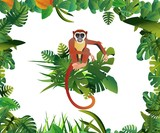Lemur and parrot exotic animals and birds blue sky backgound vector jungle illustration