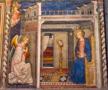 "Постер, картина, фотообои ""Ghirlandaio Virgin Fresco Annunciation Santa Maria Novella Church Florence Italy"""